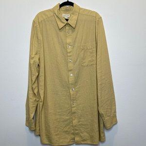 KS Island pale yellow linen blend button up shirt